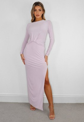 Missguided Pink Slinky Drape Front Long Sleeve Maxi Dress