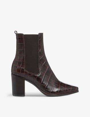 Dune Poste crocodile-embossed leather heeled Chelsea boots