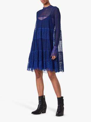 AllSaints Briella Tiered Lace Mini Dress