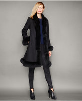 The Fur Vault Fox-Fur-Trim Cashmere Walker Coat