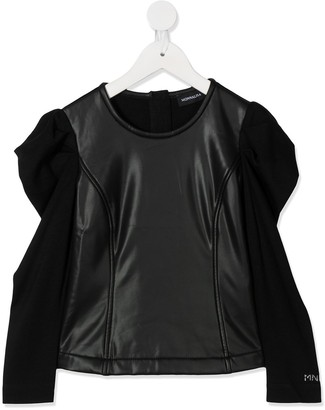 MonnaLisa Faux-Leather Panel Top