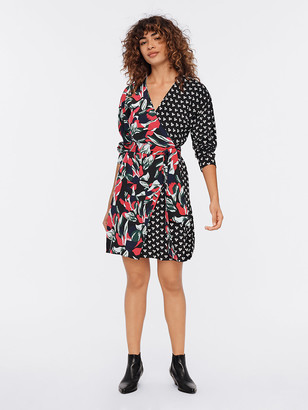 Diane von Furstenberg Raven Silk Crepe de Chine Mini Wrap Dress
