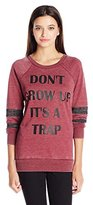 """Miss Chievous Juniors Long Sleeve Top Burnwash """"Don't Grow up It's a Trap"""""""