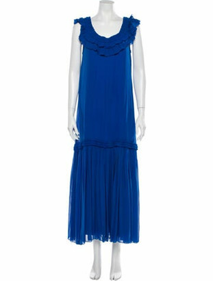 Opening Ceremony Silk Long Dress Blue