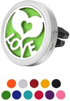 """HOUSWEETY """""""" Car Air Freshener Aromatherapy Essential Oil Diffuser Locket With Vent Clip - 11 Refill Pads"""