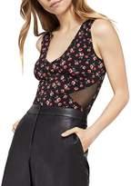 BCBGeneration Mesh-Inset Floral Print Bodysuit