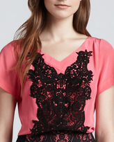 Nanette Lepore Snow Cone Lace-Panel Top, Tulip