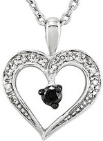 FINE JEWELRY 1/6 CT. T.W. White and Color-Enhanced Black Diamond Heart Pendant Necklace