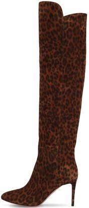 Aquazzura 85mm Gainsbourg Leopard Print Suede Boot