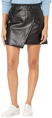 Joe's Jeans Faux Leather Wrapped Miniskirt (Jet Black) Women's Skirt