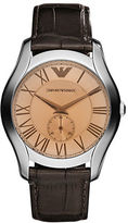 Emporio Armani Mens Silvertone and Leather Chronograph Watch