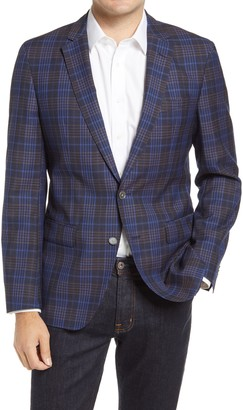 HUGO BOSS Hartlay Trim Fit Glen Plaid Wool Sport Coat