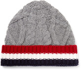 Thom Browne Striped Cable-knit Wool Beanie - Gray