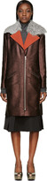 Rodarte Brown Shearling Collar Metallic Coat
