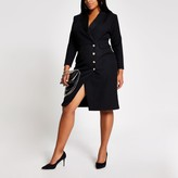 River Island Womens Plus Black button front blazer midi dress