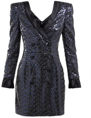 Dundas Sequinned Satin-trimmed Tuxedo Mini Dress - Dark Blue