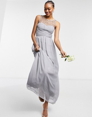 Little Mistress Bridesmaid chiffon maxi dress with pearl embellishment in gray