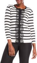 August Silk Lace Trim Stripe Cardigan