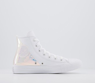 Converse All Star Hi Trainers White Leather Split Iridescent Exclusive