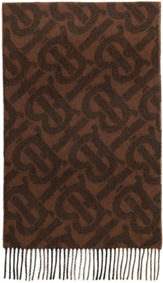 Burberry Brown Cashmere TB Mega Check Scarf