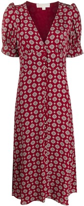 MICHAEL Michael Kors Tile-Print Button-Through Midi Dress