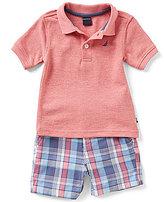 Nautica Baby Boys 12-24 Months Short-Sleeve Polo Shirt & Plaid Shorts Set