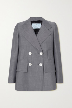 Prada Double-breasted Mohair And Wool-blend Blazer - Gray