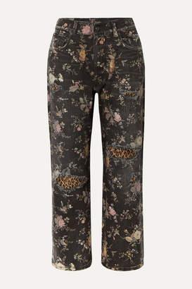 R 13 Distressed Printed Boyfriend Jeans - Black