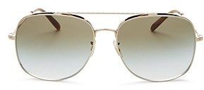 Oliver Peoples Unisex Taron Brow Bar Aviator Sunglasses, 58mm