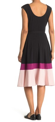 Gabby Skye Cap Sleeve Belted Colorblock Crepe Dress
