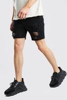 boohoo Mens Black Slim Fit All Over Rip Denim Shorts, Black