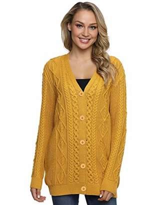 Lynz Pure Women's Cardigan Sweaters Button Down Knitwear Oversized Cable Knit Outwear Yellow XL