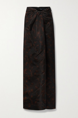 Brandon Maxwell Draped Printed Gazar Maxi Skirt - Black