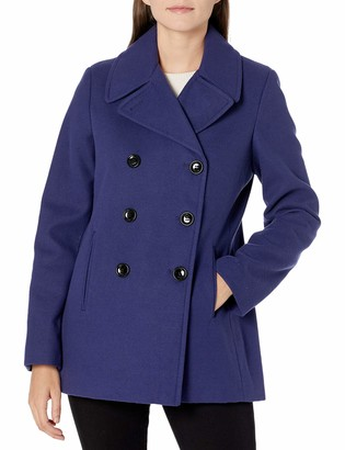 Calvin Klein Womens Double Breasted Faux Wool Peacoat