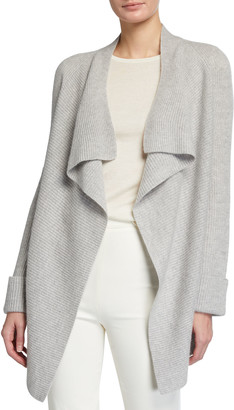 Neiman Marcus Ribbed Open-Front Cashmere Cardigan with Cuff