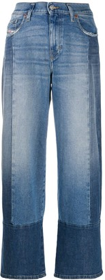 Diesel Wide-Leg Patchwork Jeans