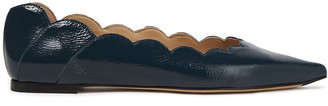 Chloé Lauren Scalloped Glossed Textured-leather Point-toe Flats