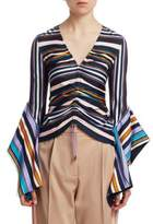 Peter Pilotto Striped jersey V-Neck Gathered Top