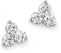 Bloomingdale's Diamond Three Stone Stud Earrings in 14K White Gold, 0.60 ct. t.w. - 100% Exclusive