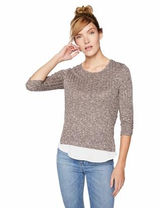 Amy Byer A. Byer Women's Cinch Sleeve Knit Top with Chiffon Hangdown
