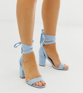 Design DESIGN Wide Fit Howling tie leg block heeled sandals in cornflower blue