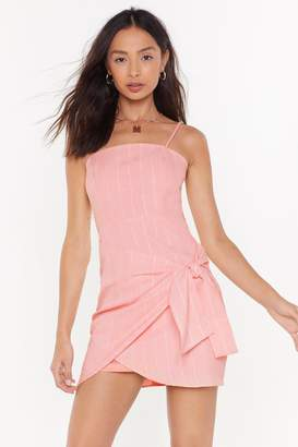 Nasty Gal Womens My Stripe Of Party Wrap Mini Dress - Pink - 10, Pink