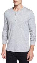 Vince Long-Sleeve Henley Shirt, Light Gray