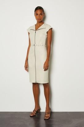 Karen Millen Stretch Leather Belted Zip Front Dress