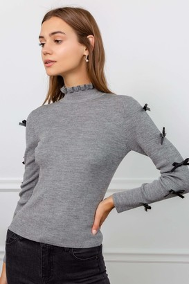 J.ING Tied 2 You Grey Turtleneck Top