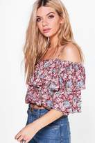 Boohoo Lorna Printed Tiered Cold Shoulder Top