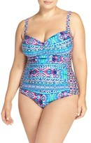 LaBlanca Plus Size Women's La Blanca 'Global' Ruched One-Piece Swimsuit