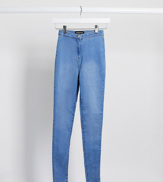 Parisian Tall skinny high waist jeggings in mid wash