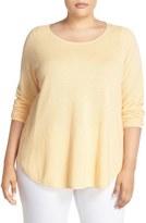 Eileen Fisher Organic Cotton & Cashmere Ballet Neck Pullover (Plus Size)