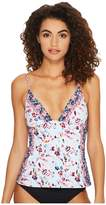 Lucky Brand Gypsy Floral Over the Shoulder Tankini Top Women's Swimwear